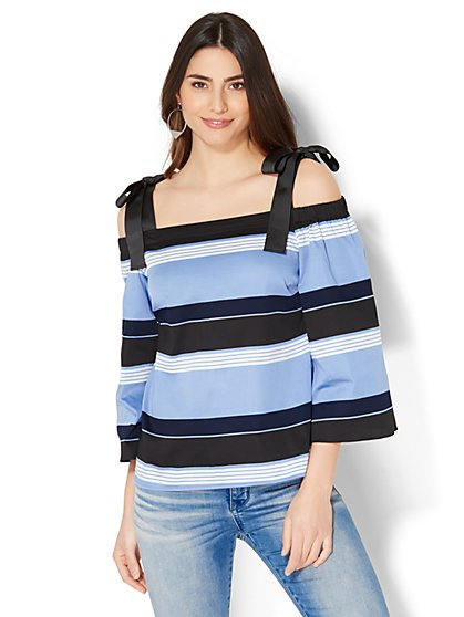7th Avenue - Off-The-Shoulder Shirt - Stripe - New York & Company