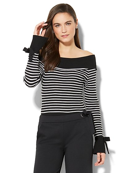 7th Avenue - Off-The-Shoulder Striped Sweater - New York & Company