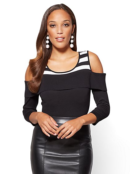 7th Avenue - Off-The-Shoulder Sweater - Black & White - New York & Company
