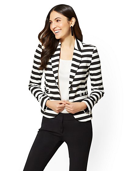 7th Avenue - One-Button Jacket - Black & White Stripe - New York & Company