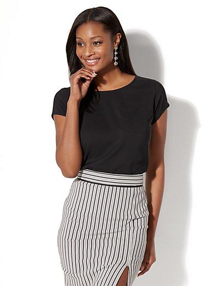7th Avenue - One-Pocket Short-Sleeve Blouse - New York & Company
