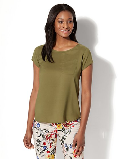 7th Avenue - One-Pocket Short-Sleeve Blouse - New York & Company