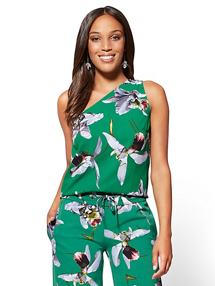 7th Avenue - One-Shoulder Blouse - Floral - Tall - New York & Company