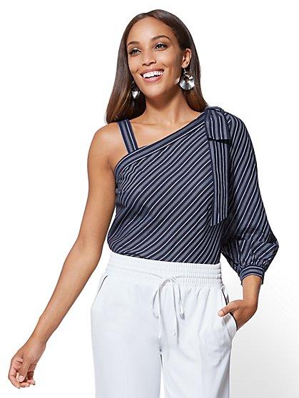 7th Avenue - One-Shoulder Blouse - Stripe - New York & Company
