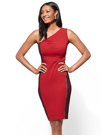 7th Avenue - One-Shoulder Colorblock Sheath Dress - New York & Company