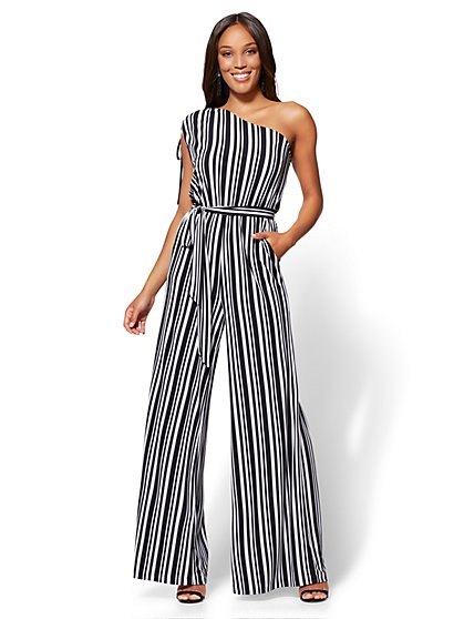7th Avenue One-Shoulder Jumpsuit - Black & White Stripe - New York & Company
