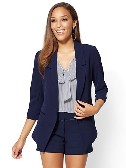 7th Avenue - Open-Front Jacket - Navy - New York & Company