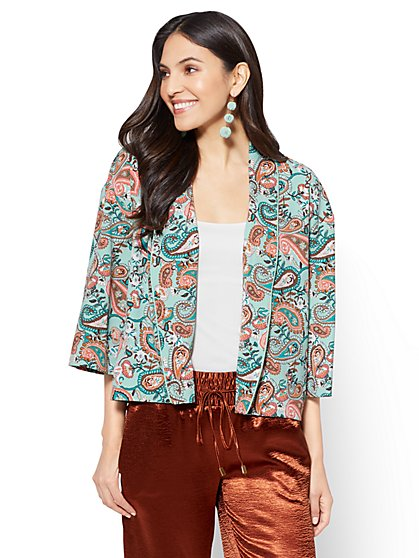 7th Avenue - Open-Front Jacket - Paisley - New York & Company