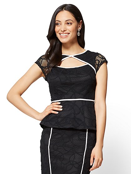 7th Avenue - Open-Front Peplum Top - New York & Company