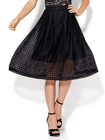 7th Avenue - Open-Weave Pleated Skirt  - New York & Company