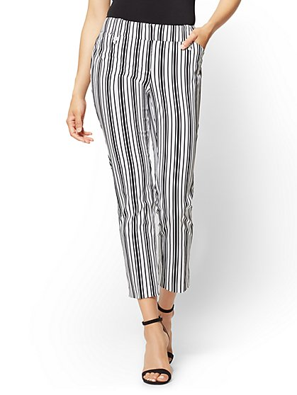 7th Avenue Pant - Ankle - Modern - Black & White Stripe - New York & Company