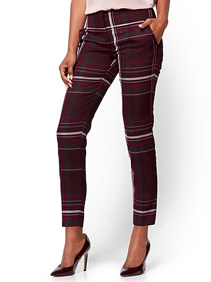 7th Avenue Pant - Ankle - Modern - Burgundy - Plaid  - New York & Company