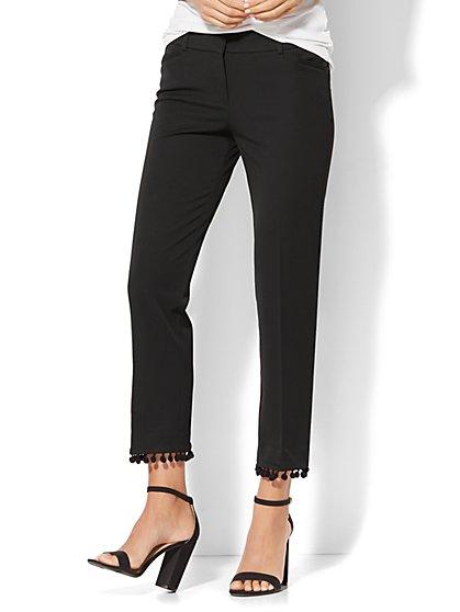 7th Avenue Pant - Ankle - Modern - Pom Pom-Trim - Black - New York & Company