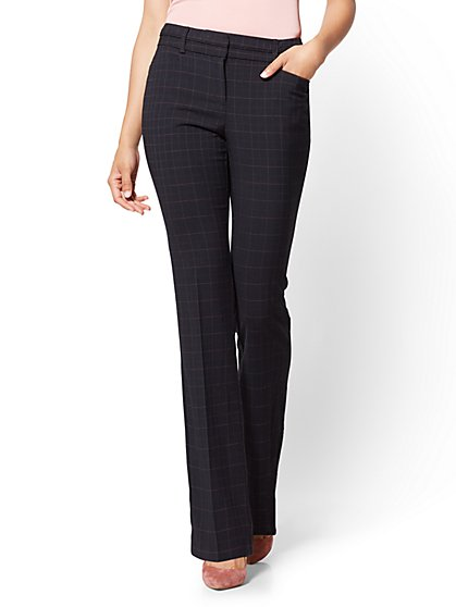 7th Avenue Pant - Bootcut - Modern - Black - Plaid - Petite - New York & Company