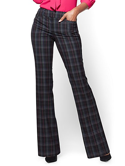 7th Avenue Pant - Bootcut - Signature - Black Plaid - Tall  - New York & Company