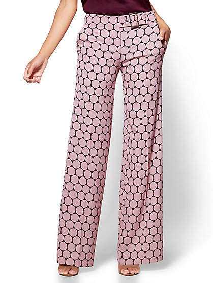 7th Avenue Pant - Buckled Palazzo - Polka Dot - New York & Company