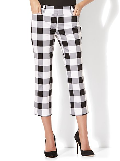 7th Avenue Pant - Crop Straight Leg - Modern - Gingham - New York & Company