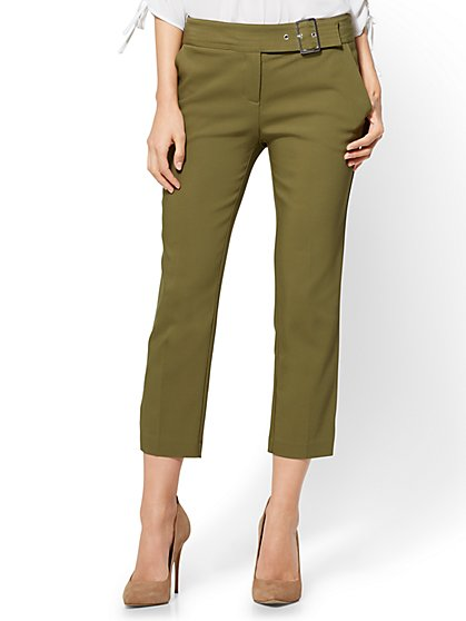 7th Avenue Pant - Crop Straight Leg - Modern - Olive - New York & Company