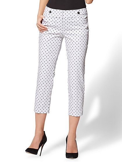 7th Avenue Pant - Crop Straight Leg - Modern - White - Dot Print - New York & Company
