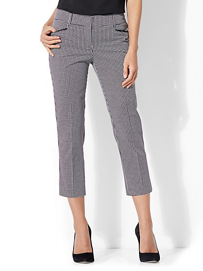 7th Avenue Pant - Crop Straight Leg - Signature - Grid Print - New York & Company