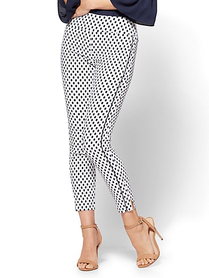 7th Avenue Pant - High-Waist Pull-On Ankle Legging - Polka Dot - Petite - New York & Company