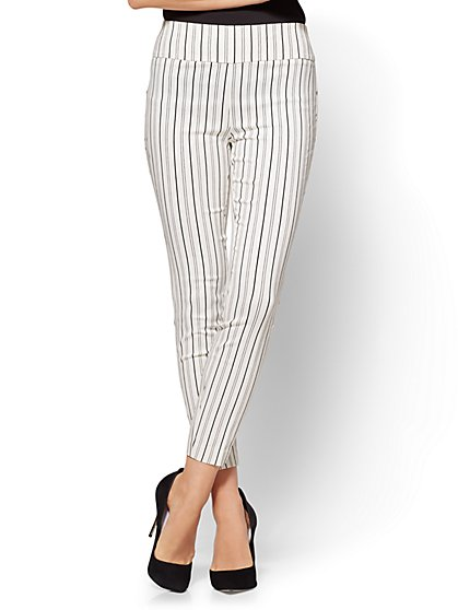 7th Avenue Pant - High-Waist Pull-On Ankle Legging - Stripe - Petite - New York & Company