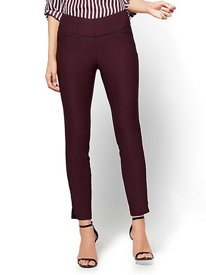 7th Avenue Pant - High-Waist Pull-On Ankle Legging - Ultra Stretch - Burgundy - New York & Company