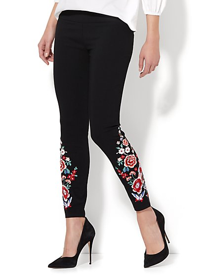 7th Avenue Pant - Legging - Embroidered Ankle - Black - New York & Company