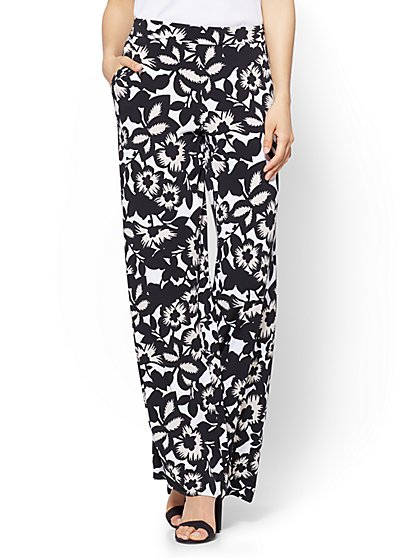 7th Avenue Pant - Palazzo - Black Floral - New York & Company