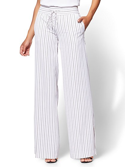 7th Avenue Pant - Palazzo - Black Stripe - New York & Company