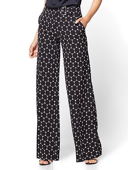 7th Avenue Pant - Palazzo - Black & White Dot - Petite - New York & Company