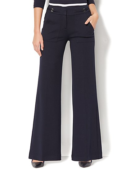 7th Avenue Pant - Palazzo - Ponte - Navy - New York & Company