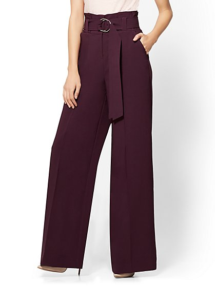 7th Avenue Pant - Paperbag-Waist Palazzo - Aubergine - New York & Company