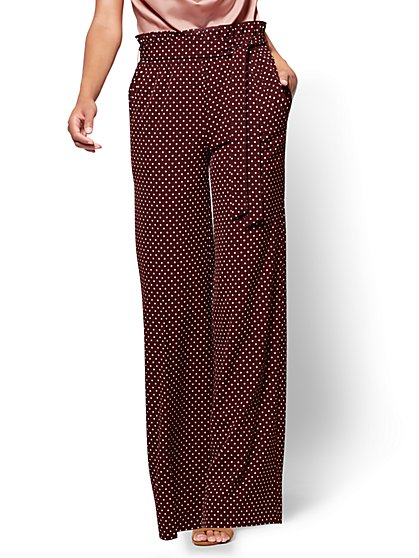 7th Avenue Pant - Paperbag-Waist Palazzo - Burgundy - Polka Dot - New York & Company