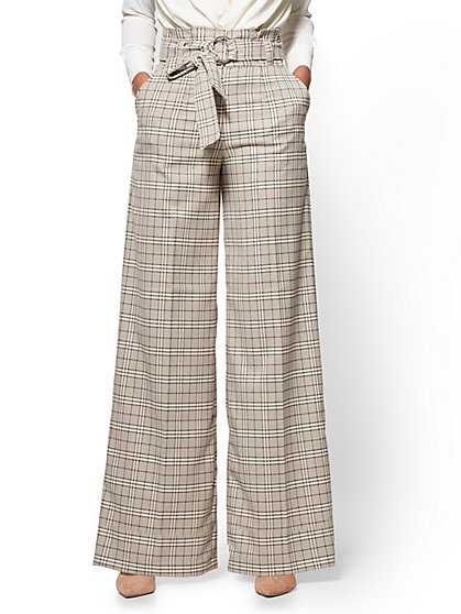 7th Avenue Pant - Paperbag-Waist Palazzo - Camel - Plaid - New York & Company