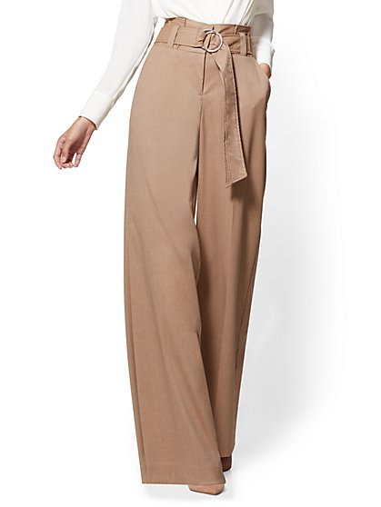 7th Avenue Pant - Paperbag-Waist Palazzo - Camel - New York & Company