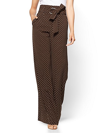 7th Avenue Pant - Paperbag-Waist Palazzo Pant - Brown - Dot Print - Tall - New York & Company