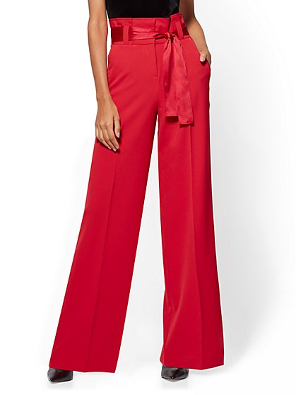 7th Avenue Pant - Paperbag-Waist Palazzo - Red - New York & Company