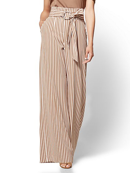 7th Avenue Pant - Paperbag-Waist Palazzo - Stripe - Petite - New York & Company
