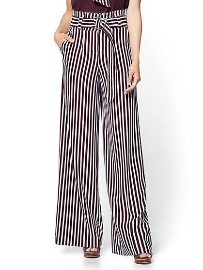 7th Avenue Pant - Paperbag Waist Palazzo - Stripe - New York & Company