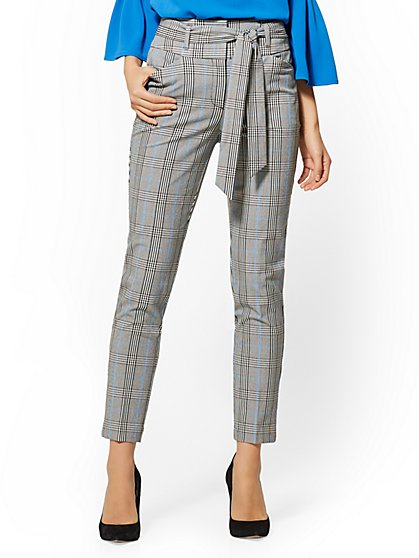 7th Avenue Pant - Paperbag-Waist Slim Ankle - Glen Plaid - New York & Company