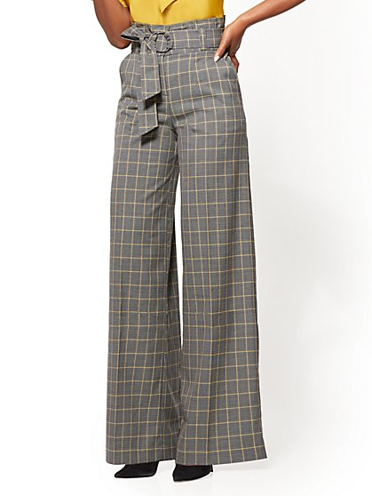 7th Avenue Pant - Paperbag-Waist - Wide-Leg - Grey - Plaid - New York & Company