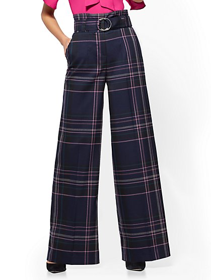 7th Avenue Pant - Paperbag-Waist - Wide-Leg - Navy - Plaid - New York & Company
