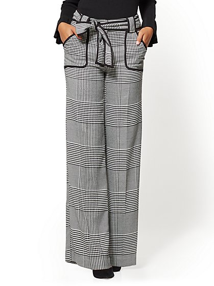 7th Avenue Pant - Piped Palazzo - Houndstooth - New York & Company