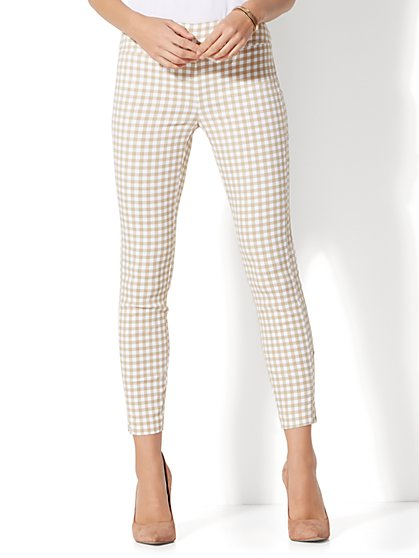 7th Avenue Pant - Pull-On Ankle - Tan Gingham - New York & Company