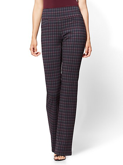 7th Avenue Pant - Pull-On Bootcut - Burgundy Plaid - New York & Company