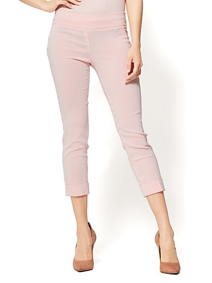 7th Avenue Pant - Pull-On Crop - Legging - Coral Stripe - New York & Company
