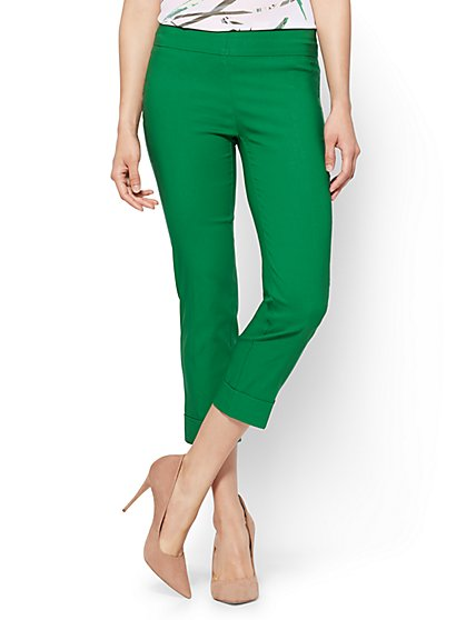 7th Avenue Pant - Pull-On Crop - Legging - Green - New York & Company