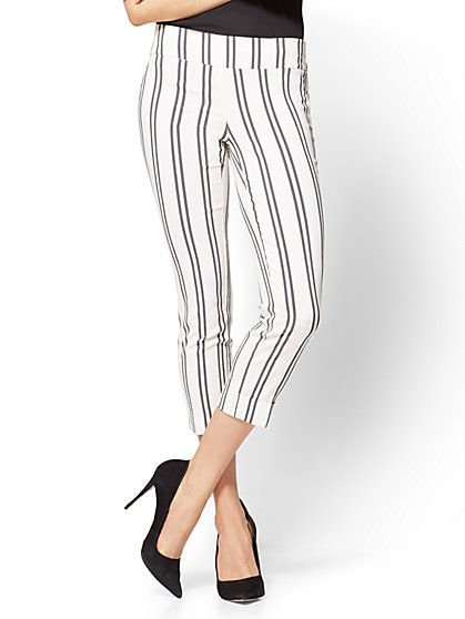 7th Avenue Pant - Pull-On Crop - Legging - Stripe - New York & Company