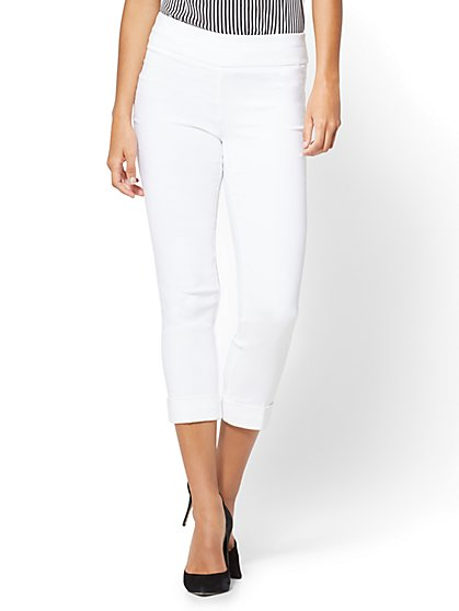 7th Avenue Pant - Pull-On Crop - Legging - White - New York & Company